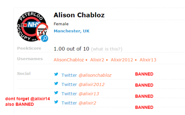 Alison BANNED accounts