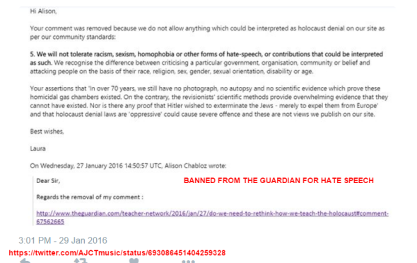 alison BANNED FROM THE GUARDIAN FOR HATE SPEECH