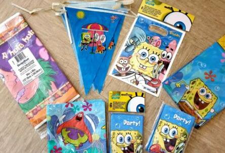 SpongeBob Party tablecloth invites bunting NEW joblot eBay